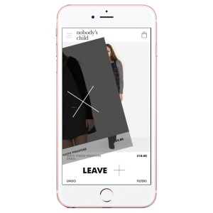 """An example of a """"Tinder for e-commerce"""" interface. (Photo courtesy of digiday.com)"""