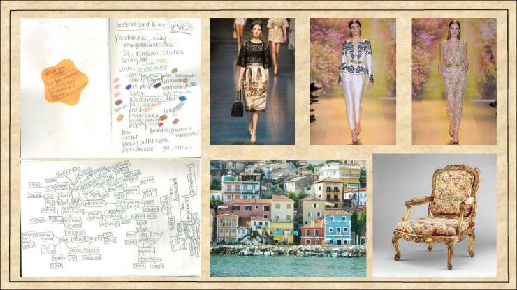 Inspiration derived from Dolce & Gabbana, Zuhair Murad couture, and Italy.
