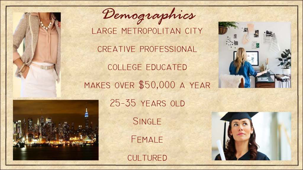 Demographics for the brand's target market.