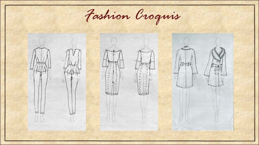 The garments on fashion croquis