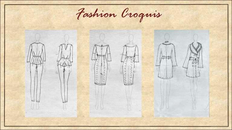 The garments on fashion croquis
