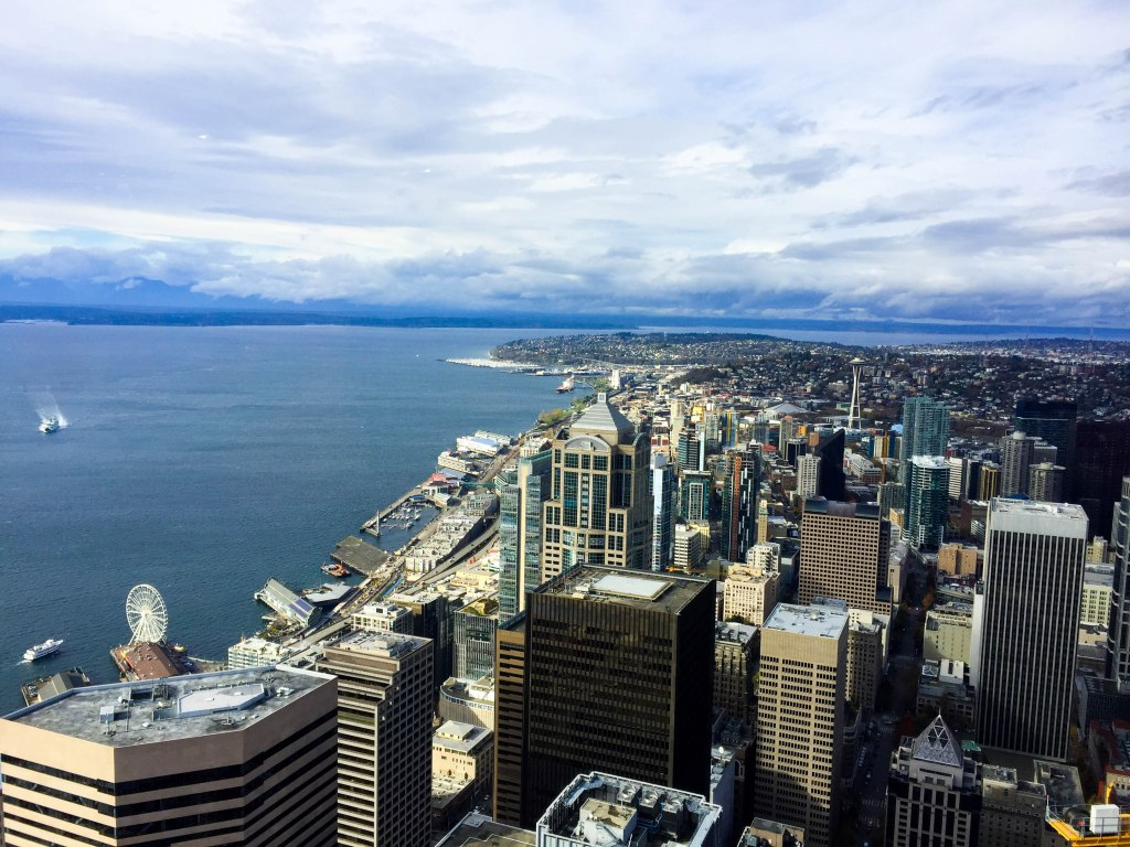 The Columbia Center is home to the SkyView Observatory, which stands nearly 1,000 feet above sea level. It is the highest public observatory in the Northwest, offering a 360 degree view of the city. In my personal opinion, this gives a better view of the city than the Space Needle does.